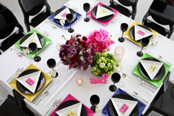 color blocked neon wedding tables
