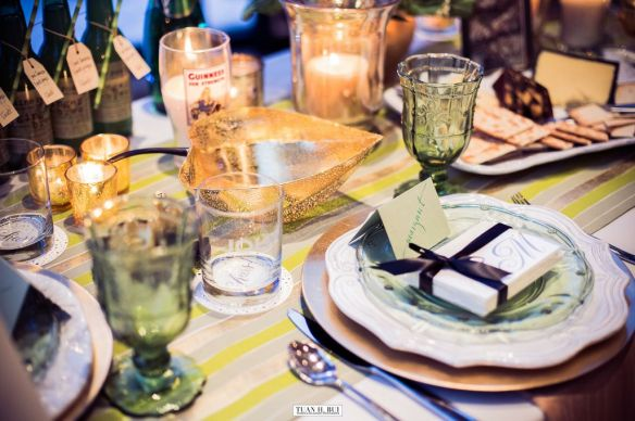 gold and green placesetting