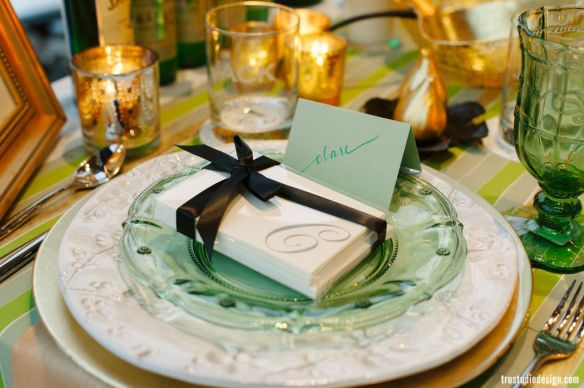 green and white placesetting