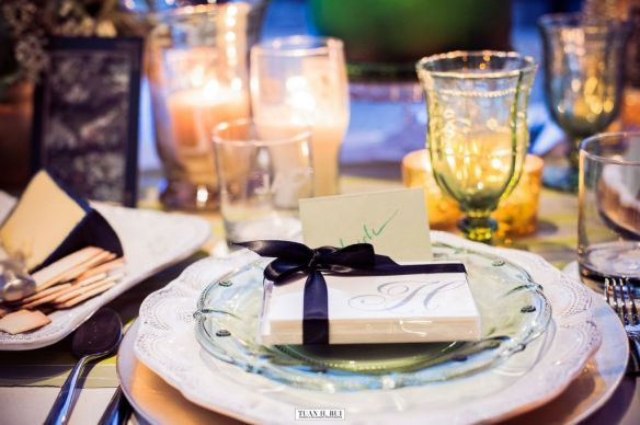 green, gold and white dinner party