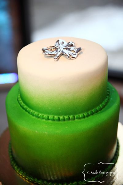 Green/White ombre cake
