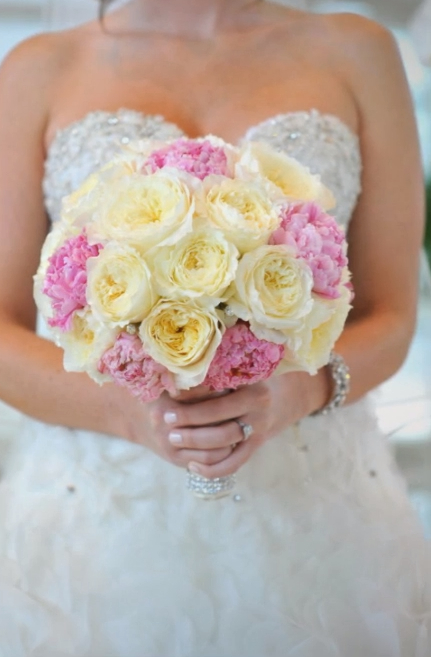 peony and garden rose bridal bouquet