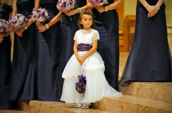 flower girl dress with purple sash