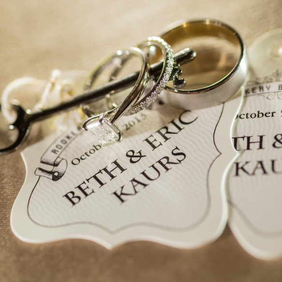 Newlywed escort cards and rings