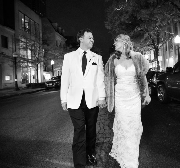 Night time wedding photo