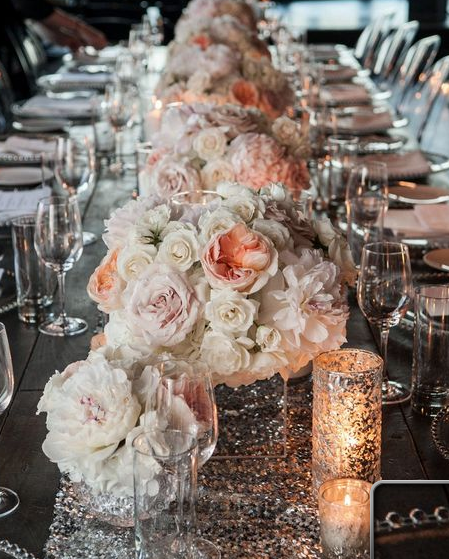 Blush wedding centerpieces