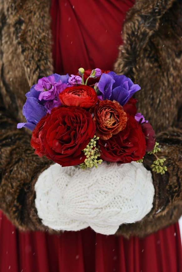 NYE wedding red and purple bridal bouquet