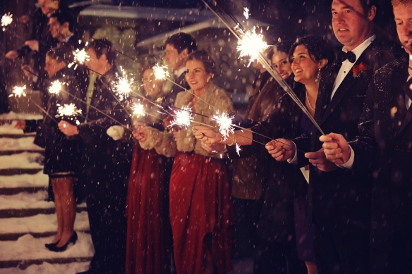 NYE wedding sendoff with sparklers