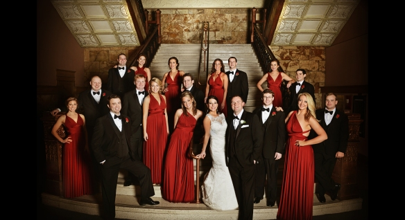 new years wedding bridal party red dresses